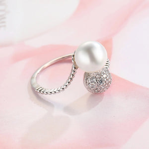 Silver Jewelry Women Natural Freshwater Pearl Ring