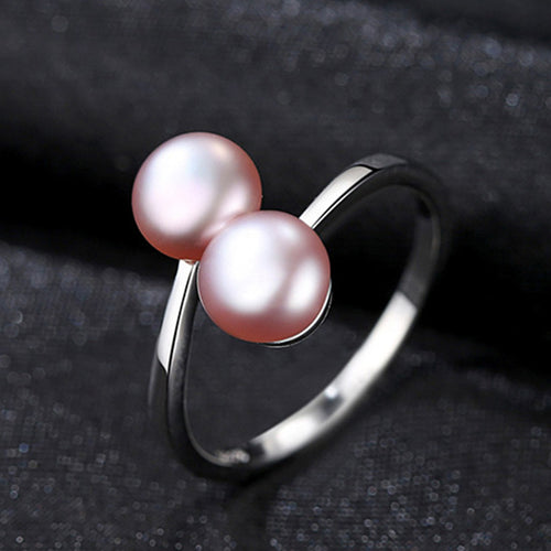 Sterling Silver Resizable Freshwater 2 Pearls Ring