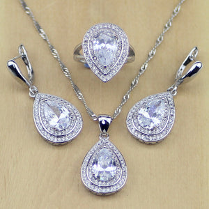 Silver Oval Shaped Jewelry Sets For Women