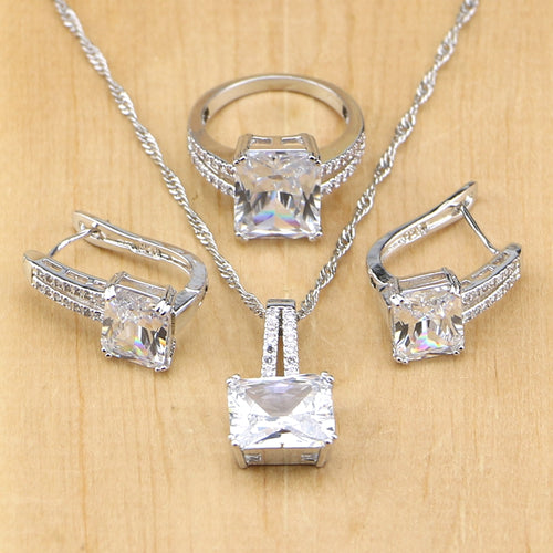 Silver White Jewelry Sets For Women