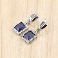 Load image into Gallery viewer, Sterling Silver Jewelry Blue Cubic Zirconia Earrings