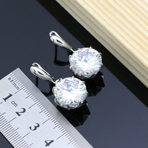 Silver Jewelry White Zircon Sets For Women