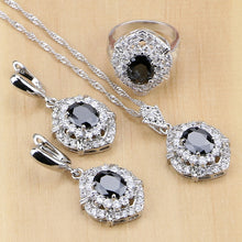 Load image into Gallery viewer, Silver Jewelry Black Cubic Zirconia White Set
