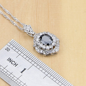 Silver Jewelry Black Cubic Zirconia White Set