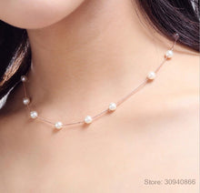 Load image into Gallery viewer, Silver Jewelry 12 PCS 6mm Pearl Box Chain Choker Necklace