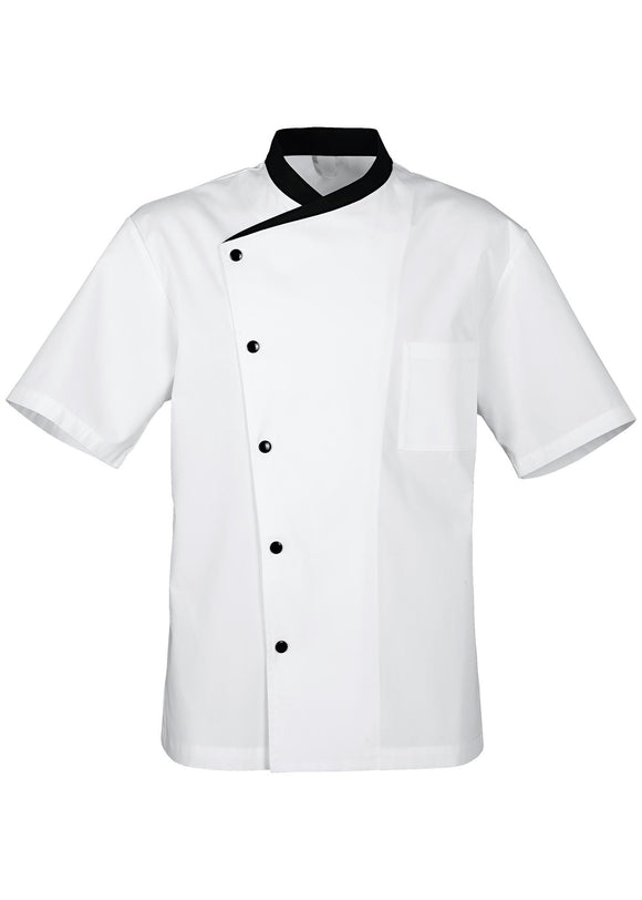 Chef's coat Juliuso Short Sleeve White / Black