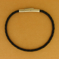 Thin Braided Leather Bracelet with Stainless Steel Clasp