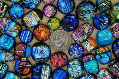 Small Dichroic Glass Cabochons - 100 Pieces