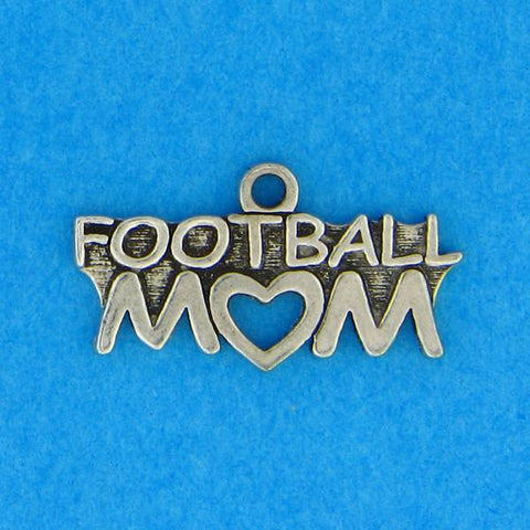 Football Mom Heart Charm