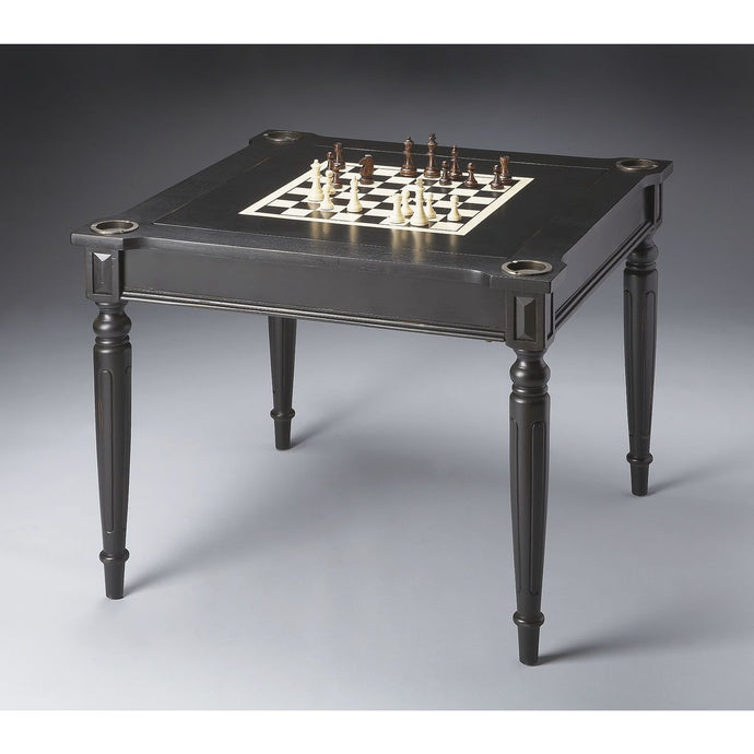Butler Specialty Company Vincent Black Multi-Game Card Table 837111 (chess table with pieces view)