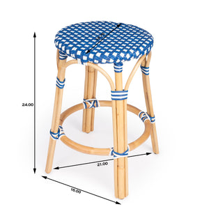Butler Specialty Company Tobias Blue & White Rattan Counter Stool 9371303