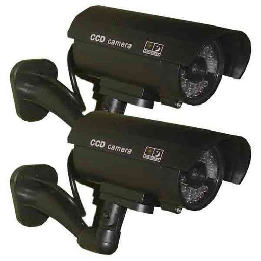 2x Fake Waterproof Security Cameras with LED Lights