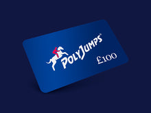 Load image into Gallery viewer, Metallic Blue PolyJumps Gift Card for £100.00