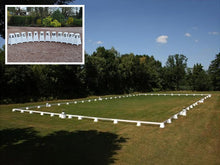 Load image into Gallery viewer, Photograph of Dressage Arena, 20 by 40 metres in field, complete with Dressage Tower Markers. Option includes 12 Dressage Tower Markers.