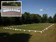 Load image into Gallery viewer, Photograph of Dressage Arena, 20 by 40 metres in field, complete with Dressage Tower Markers. Option includes 8 Dressage Tower Markers.