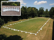 Load image into Gallery viewer, Photograph of Dressage Arena, 20 by 60 metres in field, complete with Dressage Tower Markers. Option includes 8 Dressage Tower Markers.