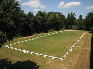Photograph of Dressage Arena, 20 by 60 metres in field, complete with Dressage Tower Markers.