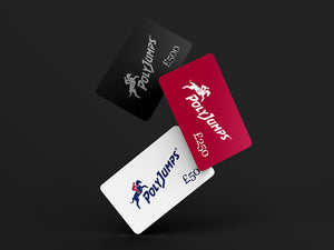 Three Gift Cards Falling. Black £500.00, Red £250.00 and White £50.00.