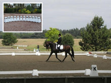 Load image into Gallery viewer, Photograph of Dressage Rider in Dressage Arena. Dressage Towers in foreground and background. Option includes 12 Dressage Towers.