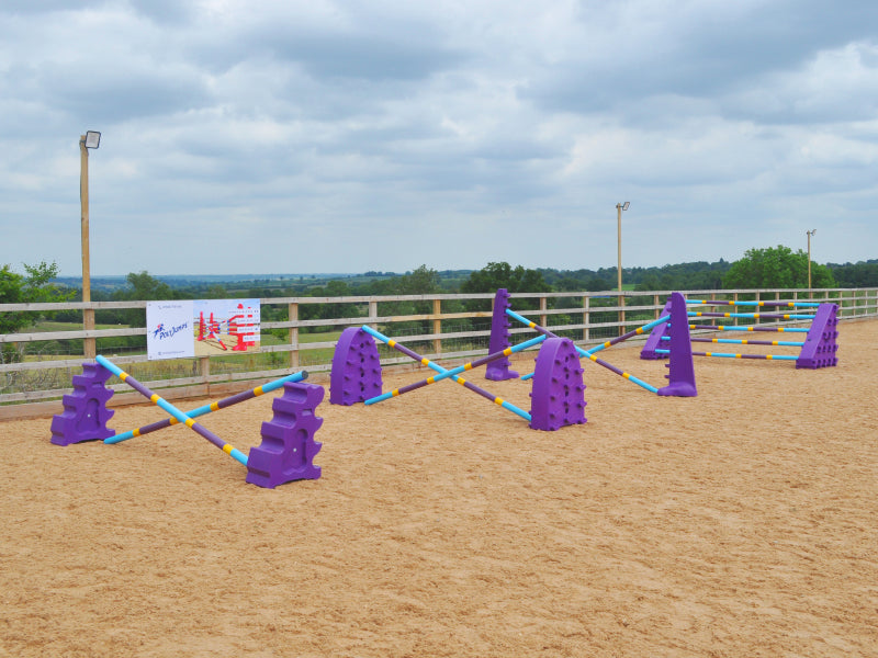 4 fences all purple. MultiJumps, Hedgehogs Jumps, 8 Cups and Combi Blocks. The first 3 fences 2 9 Band Practice poles coloured Baby blue, yellow and purple. The Combi Block have 5 poles on the. The jumps are in the an arena.