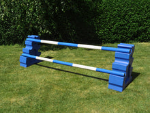 Load image into Gallery viewer, Photograph of a pair of Blue MultiJumps with 2 5 Band Practice Poles coloured: Blue & White.