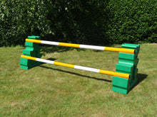Load image into Gallery viewer, Photograph of a pair of Green MultiJumps with 2 5 Band Practice Poles coloured: Yellow & White.