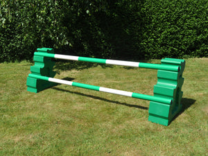 Photograph of a pair of Green MultiJumps with 2 5 Band Practice Poles coloured: Green & White.