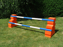 Load image into Gallery viewer, Photograph of a pair of Orange MultiJumps with 2 5 Band Practice Poles coloured: Blue & White.