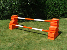 Load image into Gallery viewer, Photograph of a pair of Orange MultiJumps with 2 5 Band Practice Poles coloured: Orange & White.