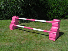 Load image into Gallery viewer, Photograph of a pair of Pink MultiJumps with 2 5 Band Practice Poles coloured: Pink & White.