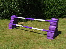 Load image into Gallery viewer, Photograph of a pair of Purple MultiJumps with 2 5 Band Practice Poles coloured: Purple & White.