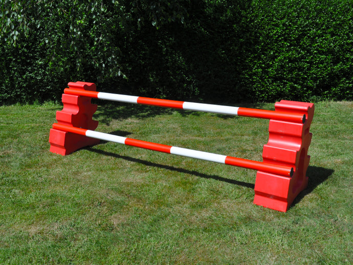 Photograph of a pair of Red MultiJumps with 2 5 Band Practice Poles coloured: Red & White.
