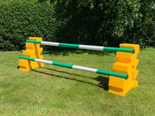 Load image into Gallery viewer, Photograph of a pair of Yellow MultiJumps with 2 5 Band Practice Poles coloured: Green & White.