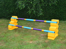 Load image into Gallery viewer, Photograph of a pair of Yellow MultiJumps with 2 9 Band Practice Poles coloured: Baby Blue, Yellow & White. These colours are also referred to as our Club Style Poles.