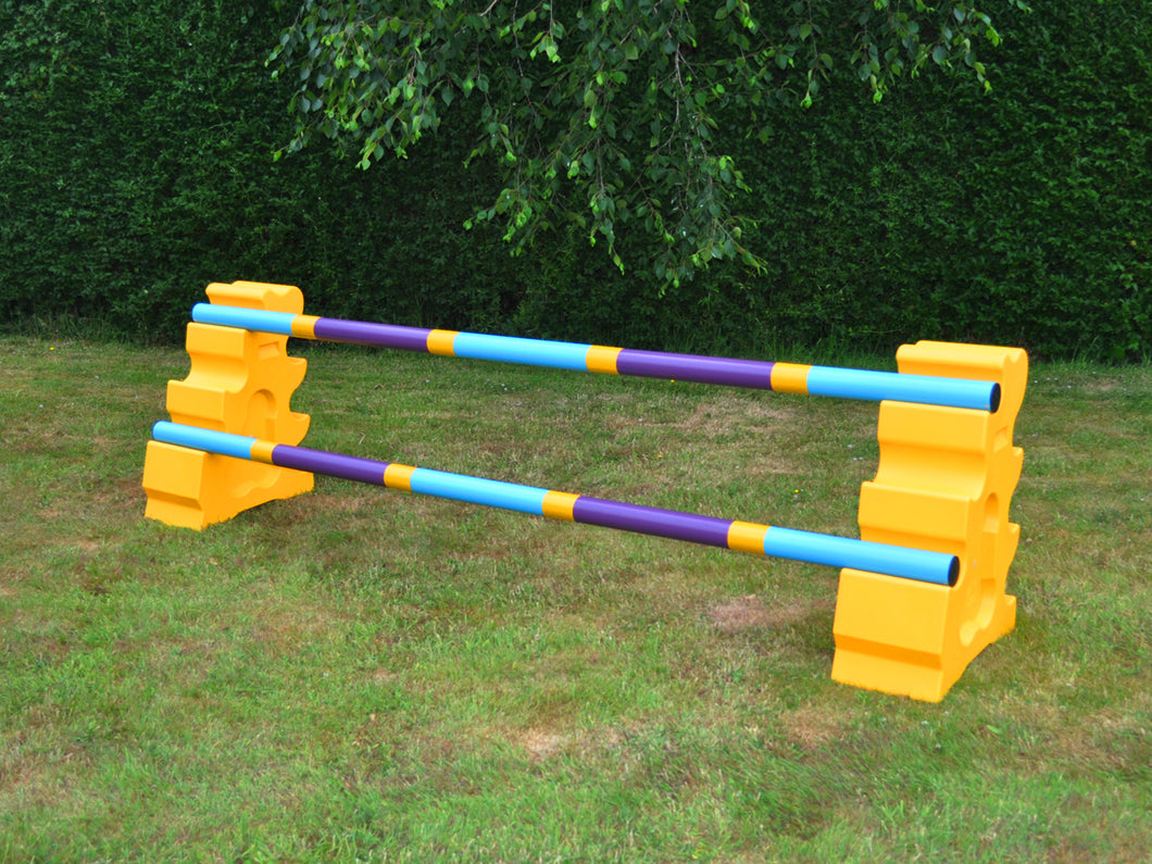 Photograph of a pair of Yellow MultiJumps with 2 9 Band Practice Poles coloured: Baby Blue, Yellow & White. These colours are also referred to as our Club Style Poles.