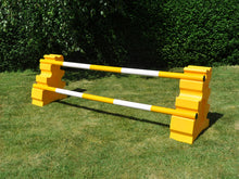 Load image into Gallery viewer, Photograph of a pair of Yellow MultiJumps with 2 5 Band Practice Poles coloured: Yellow & White.