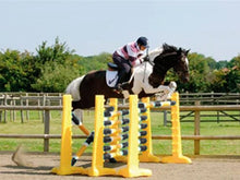 Load image into Gallery viewer, Photograph of horse and rider jumping over 3 fences. 3 Pairs of Yellow 8 Cups with 9 Pro Poles. Poles coloured Black, White & Yellow.