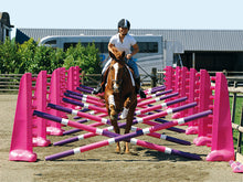 Load image into Gallery viewer, Photograph of horse and rider jumping over the PolyJumps Carol Mailer Grid Set, comprised of 14 Pink 8 Cups and 14 9 Band Pro Poles coloured: Purple, White & Pink.