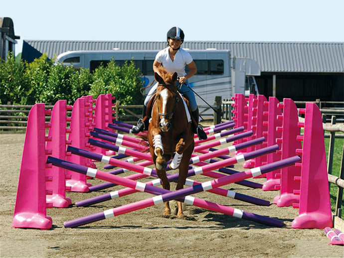 Photograph of horse and rider jumping over the PolyJumps Carol Mailer Grid Set, comprised of 14 Pink 8 Cups and 14 9 Band Pro Poles coloured: Purple, White & Pink.