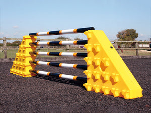A Pair of Yellow Combi Blocks set up facing outwards with 5 Pro Poles.