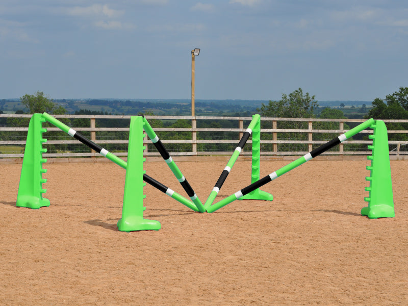 Spider set in arena comprised of: 2 pairs of Eco 8 Cups and 4 9 Band Pro Poles coloured: Lime Green, White & Black.