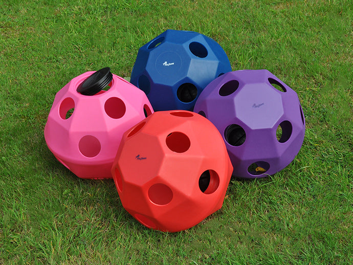4 HayBalls in different colours. Pink, Red, Blue & Purple on grass.