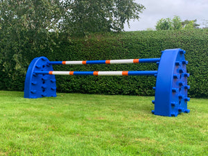Pair of Blue Hedgehogs with 2 9 Band Practice Poles coloured: Blue, Orange & White.