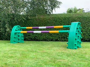 Pair of Green Hedgehogs with 2 7 Band Pro Poles coloured: Green. Yellow, Purple & White.