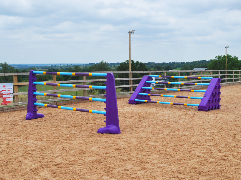 A pair of Purple 8 Cups with 4 9 Band Poles, Club Style and a pair of Purple Combi Blocks with 5 9 Band Poles in arena.
