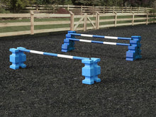 Load image into Gallery viewer, 1 pair of Baby Blue PolyJump Blocks with a Baby Blue and White Practice Pole 5 Band and 1 pair of Blue MultiJumps with 2 Blue and White Poles.