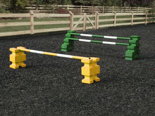 Load image into Gallery viewer, 1 pair of Yellow PolyJump Blocks with a Yellow and White Practice Pole 5 Band and 1 pair of Green MultiJumps with 2 Green and White Poles.