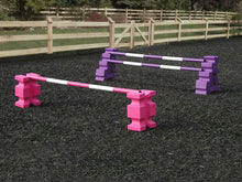 Load image into Gallery viewer, 1 pair of Pink PolyJump Blocks with a Pink and White Practice Pole 5 Band and 1 pair of Purple MultiJumps with 2 Purple and White Poles.