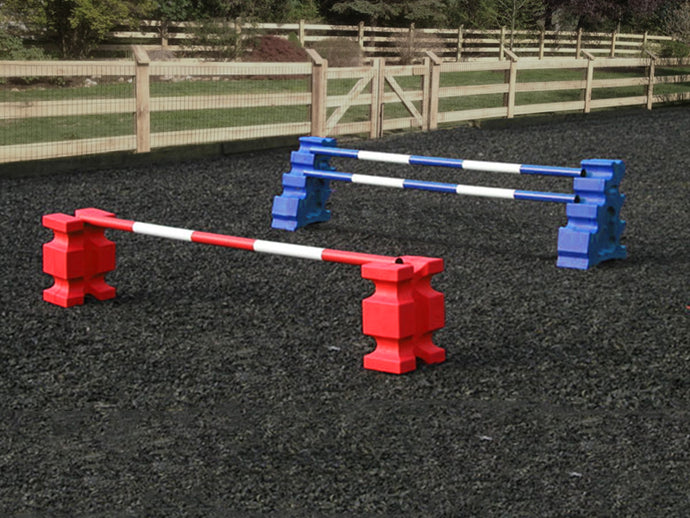 1 pair of Red PolyJump Blocks with a Red and White Practice Pole 5 Band and 1 pair of Blue MultiJumps with 2 Blue and White Poles.