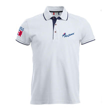 Load image into Gallery viewer, Men's White Poloshirt with Navy Blue contrast trim on sleeves, around and under the collar. PolyJumps Logo on wearer's left chest. Made in Britain PolyJumps Logo on right shoulder.
